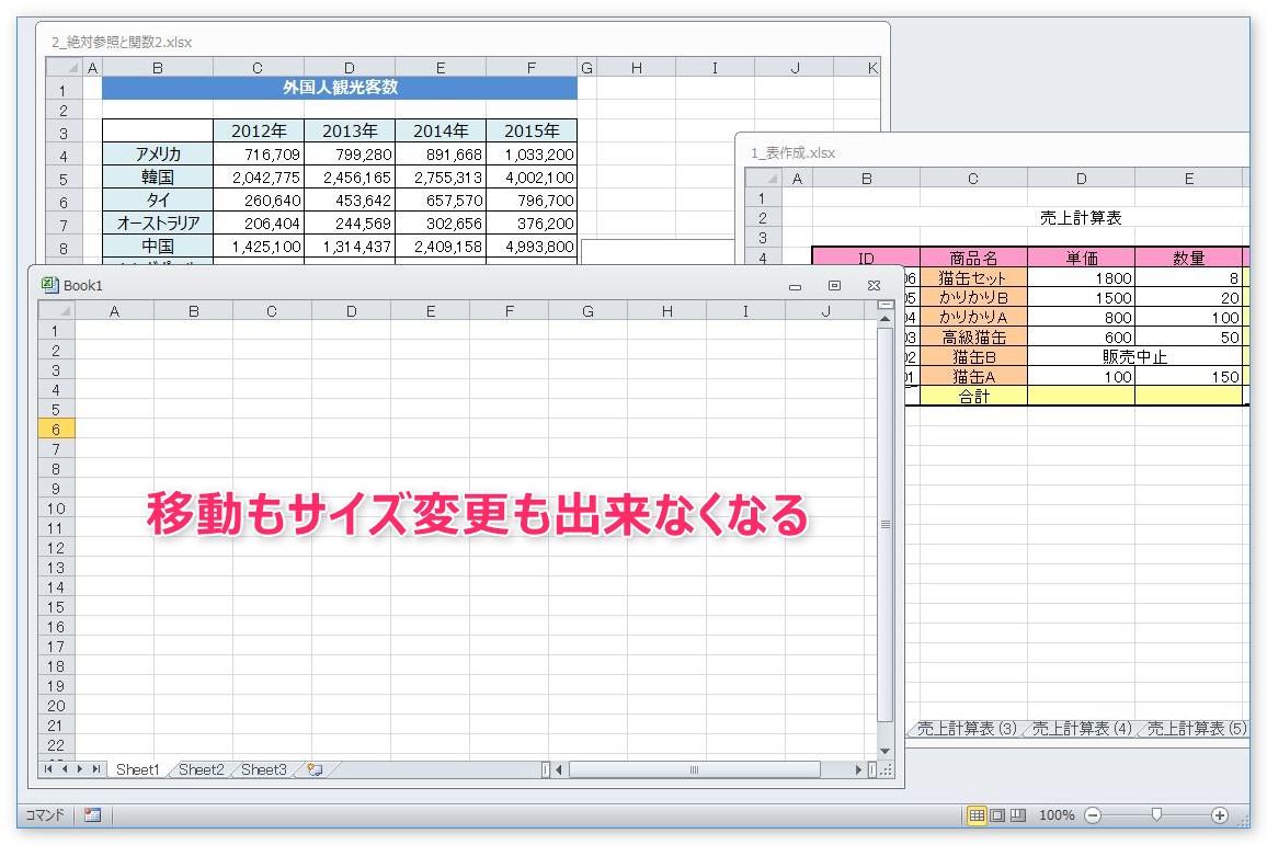 Excel(エクセル)のシートやウィンドウの大きさを変更、移動 ...