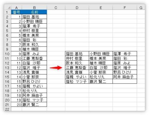 Excel(エクセル)で1列のデータを2列や3列などの複数列に分ける ...